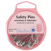 Hemline Safety Pins - 46mm long - Nickel - 18 pack